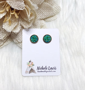 Cactus Green Druzy Stud Earrings
