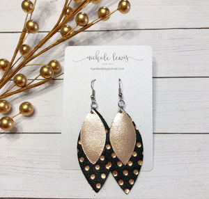 Layered Leather Earrings - Rose Gold Dot