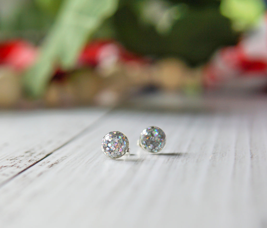 Confetti Glitter Stud Earrings - Rainbow Clear