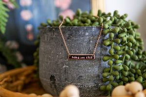 "Signature Collection Bar Necklace - ""Mama est"""