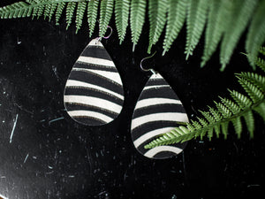 Genuine Leather Earrings - Midnight Safari