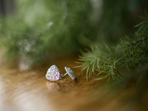 Large Triangle Druzy Studs - Siver