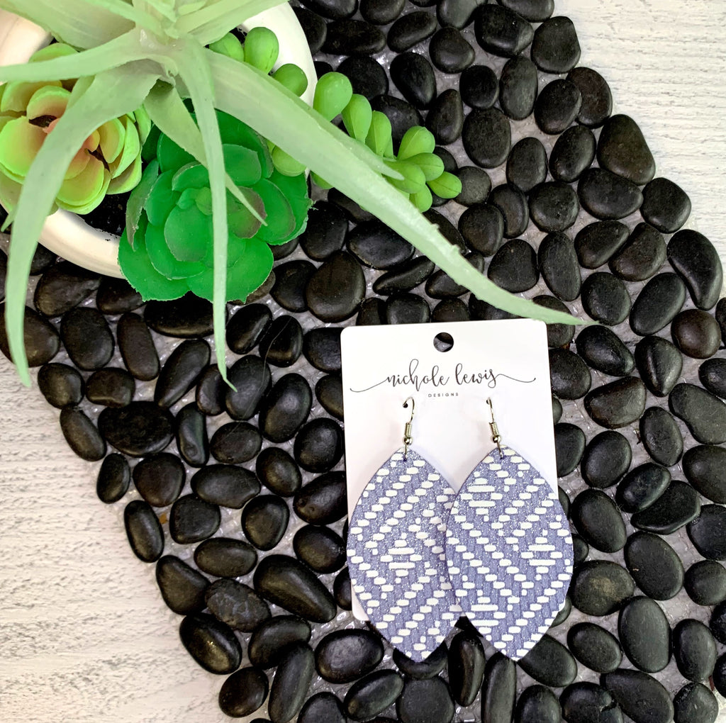 Double Weave Genuine Leather Zoe Earrings - Lavender