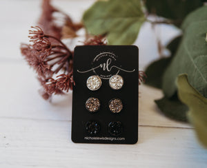 Midnight Stud Druzy Trio