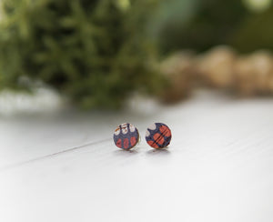 Mini Cork + Leather Studs - Navy Spotted