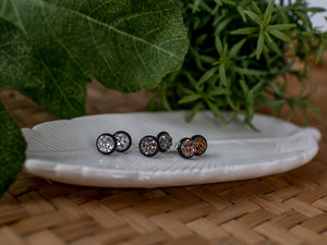 8mm Druzy Black Stud Trio