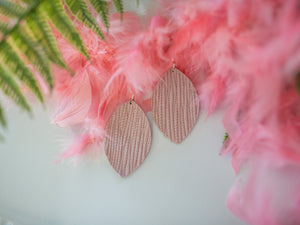 Zoe Genuine Leather Earrings - Light Pink