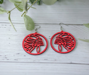 Wood Painted Earrings - Red Chief