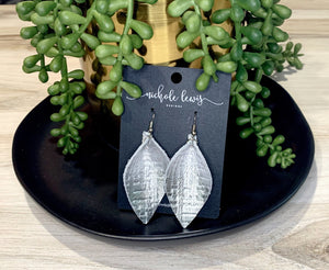 Metallic Basket Weave Leaf Genuine Leather Earrings - Silver