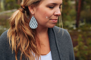 Chevron Genuine Leather Teardrop Earrings - Gunmetal