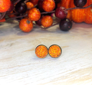Deep Orange Druzy Stud Earrings