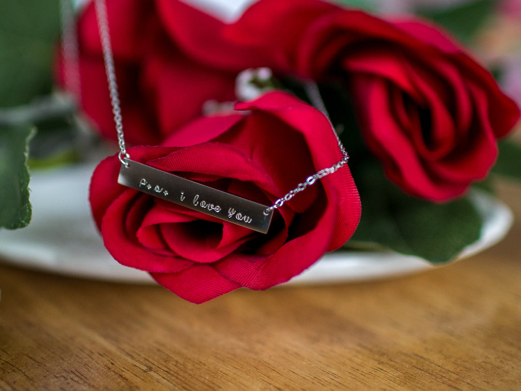 "Signature Collection Bar Necklace - ""p.s. I love you"""