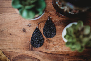 Genuine Leather Glitter Teardrop Earrings- Black