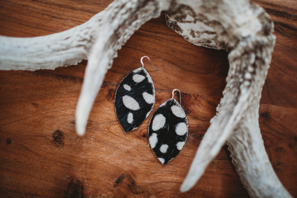 Zoe Genuine Leather Cowhide Earrings - White Spotted