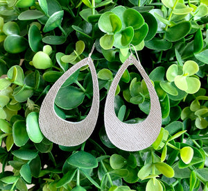 Cutout Genuine Leather Earrings - Silver Saffiano