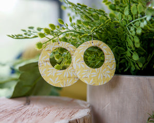 Cork + Leather Hoop Earrings - Yellow Tropical
