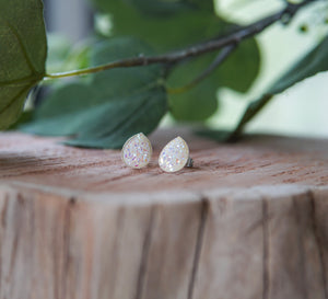 Teardrop Druzy Stud Earrings - White