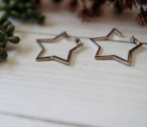 Rhinestone Star Hoops