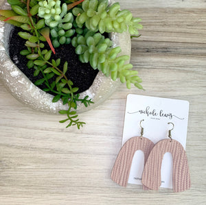 Ashley Genuine Leather Earrings - Cotton Candy Pink