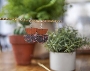 Cork + Wood Earrings - Brick