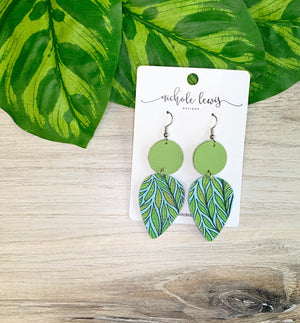 Double Drop Genuine Leather Earrings- Palm Green