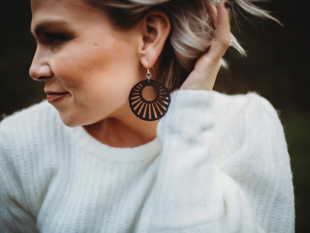 Sunburst Painted Wood Earrings - Brown
