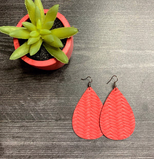 Braided Genuine Leather Earring - Living Coral