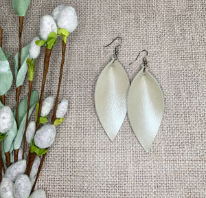 Magnolia Genuine Leather Leaf Earrings - Soft Cream