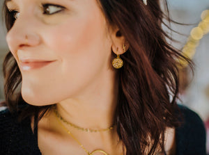 Round Leverback Druzy Earrings - Gold