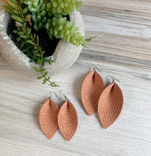 Genuine Leather Triangle Leaf Earrings - Peach