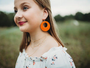Leather + Cork Hoop Earrings - Faded Orange