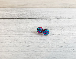 Teal & Pink Square Confetti Studs