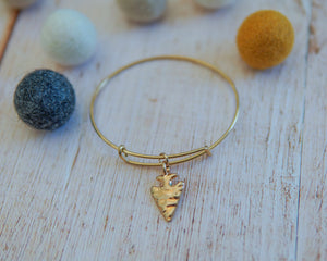 Gold Arrowhead Bangle Bracelet