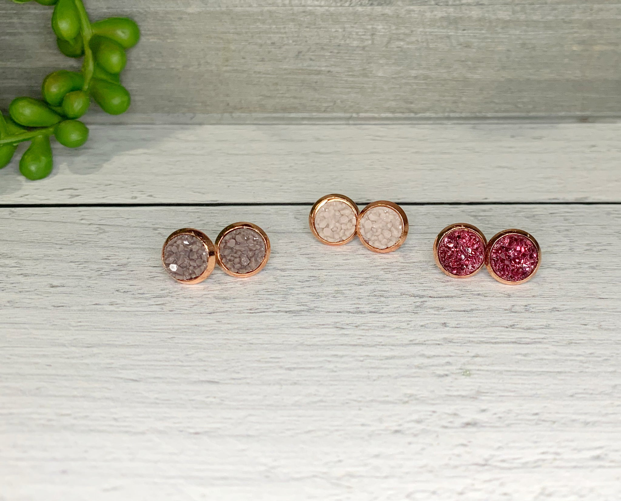 8mm Druzy Studs {Rose Gold}
