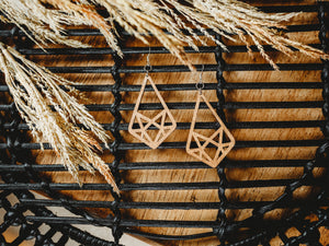 Natural Wood Earrings - Drop Triangle Cutout