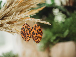 Zoe Leather Earrings - Orange Leopard