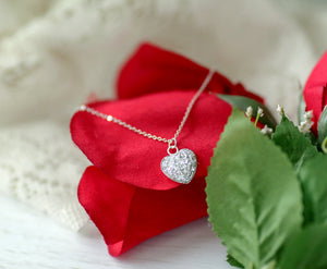 Druzy Heart Necklace - Silver