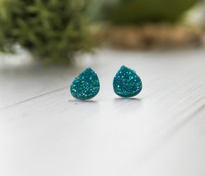 25mm Teardrop Druzy Studs - Teal