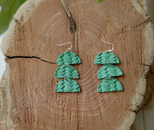 Tinley Braided Leather Earrings - Light Green