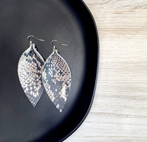Magnolia Genuine Leather Leaf Earrings - Snakeskin