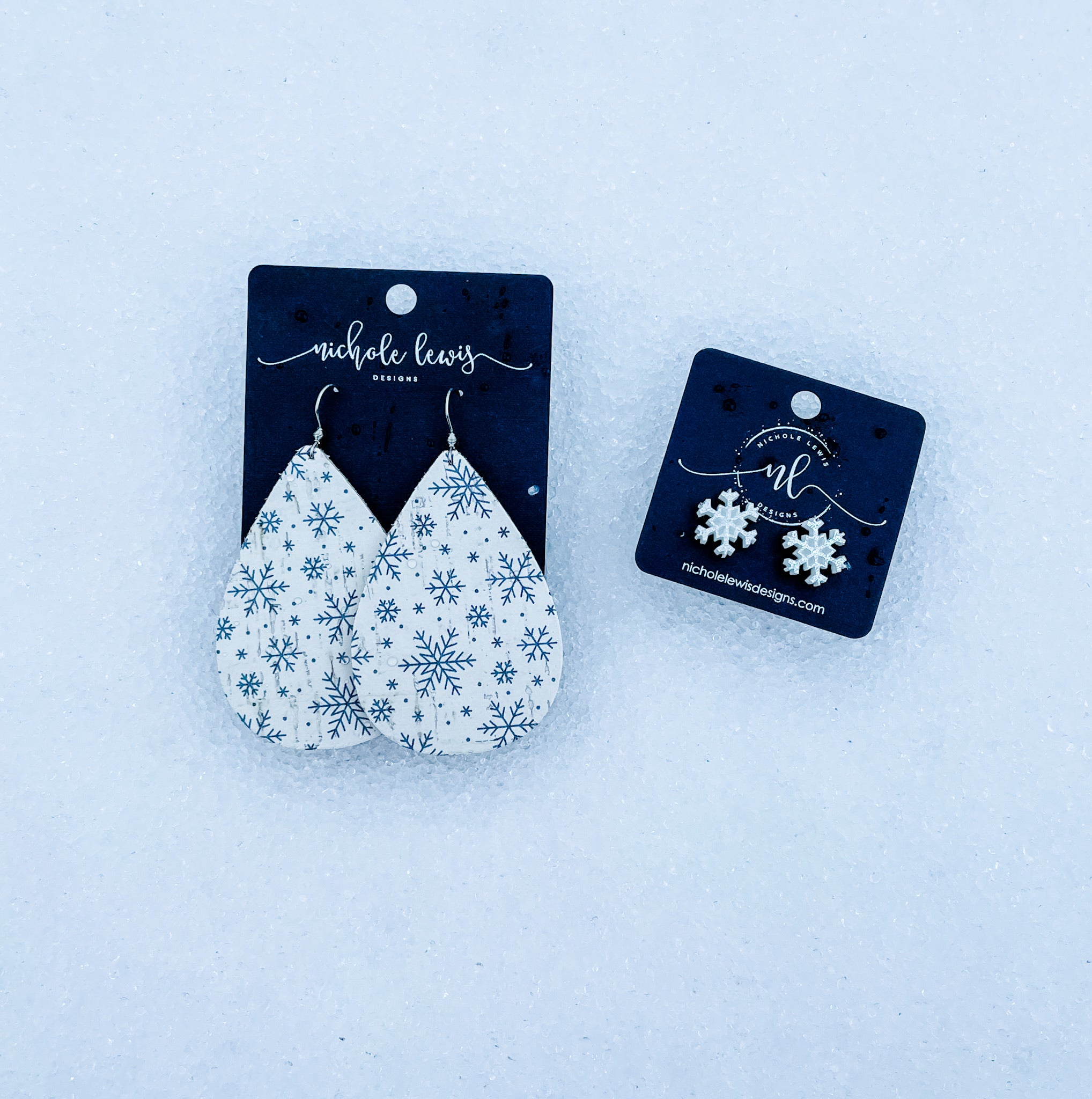 Snowflake Cork Teardrop Earrings