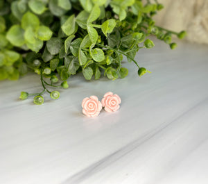 Light Pink Floral Stud Earrings