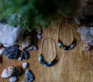 Hoop Acrylic Earrings - Blue Tortoise
