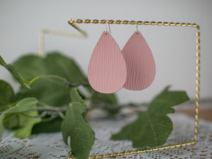 Pink Wave Genuine Leather Teardrop Earrings