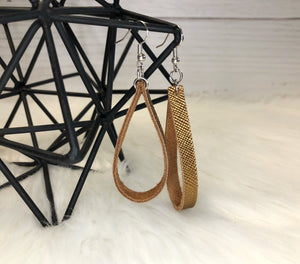 Lauren Leather Hoop Earrings - Bronze