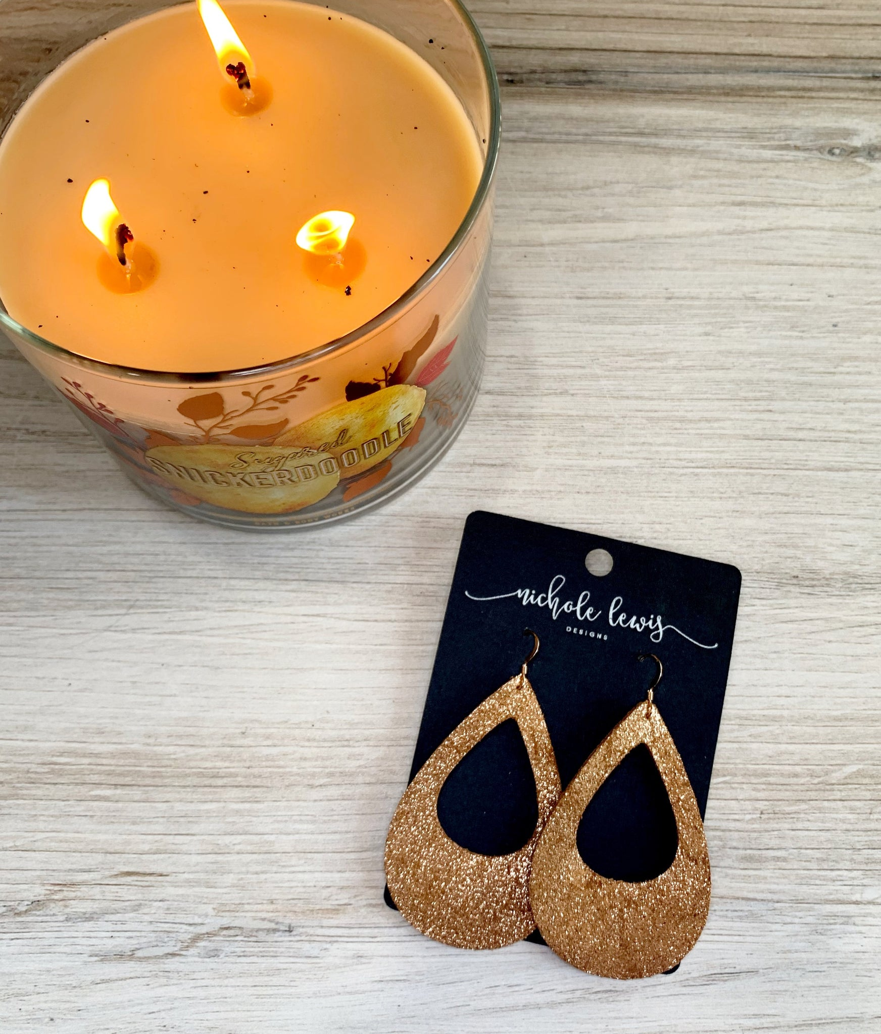 Crackle Cutout Genuine Leather Teardrop Earrings- Rose Gold