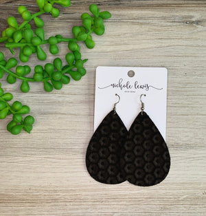 Honeycomb Genuine Leather Earrings - Oreo