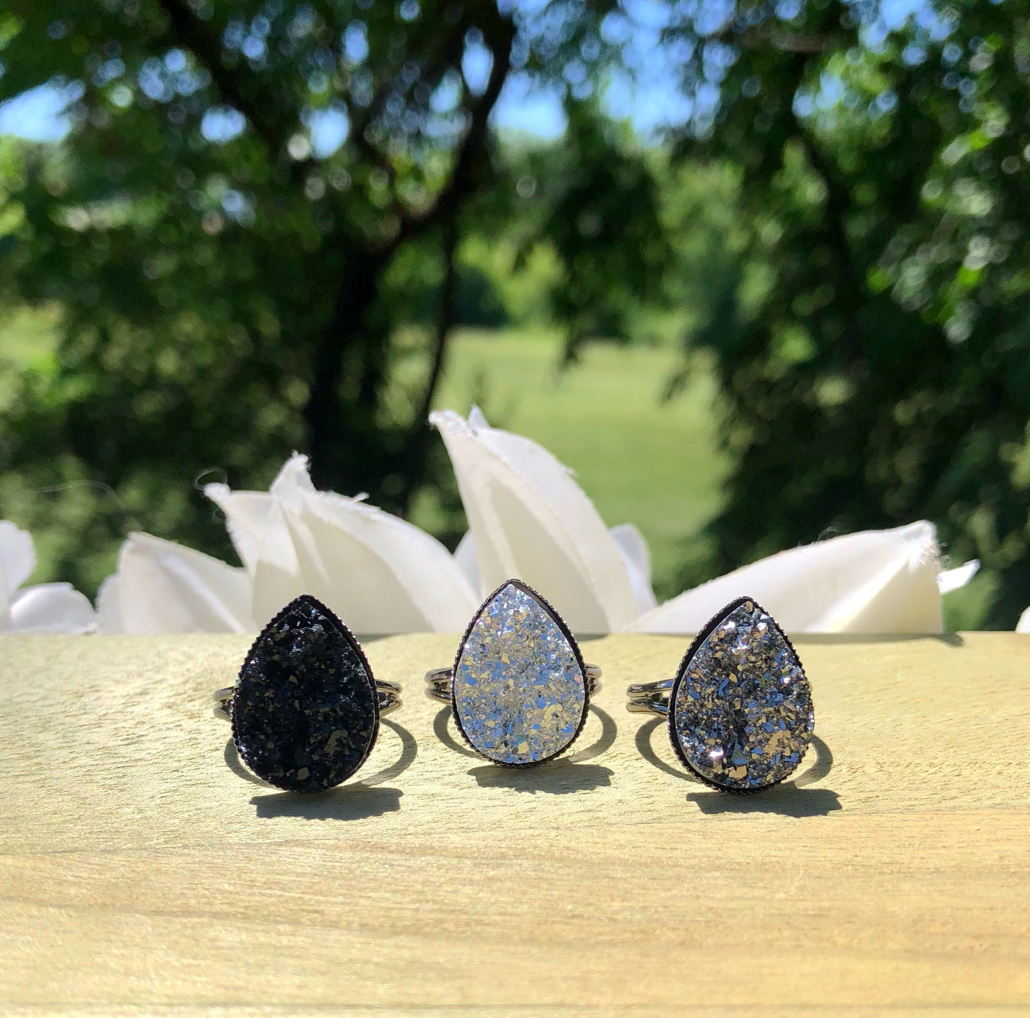 Gunmetal Teardrop Druzy Ring