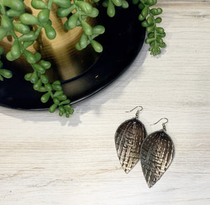 Metallic Basket Weave Leaf Genuine Leather Earrings - Pewter