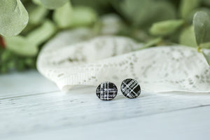 Black Plaid Leather Studs